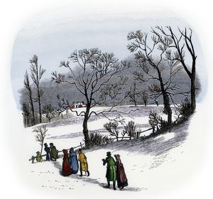 Rural Christmas gathering of neighbors, 1800s