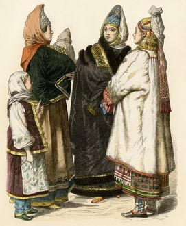 Russian peasant women with children, 1800s