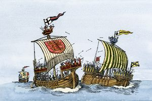 Sea battle in the Middle Ages