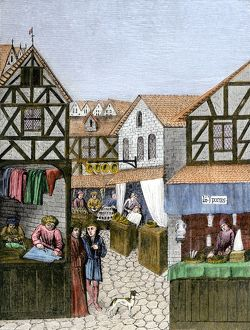 Shops in a medieval French town