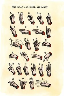 Sign language using a single hand, 1800s