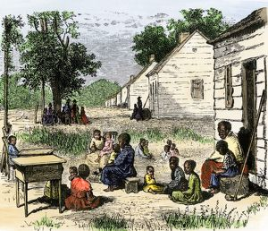 Slave cabins on a plantation