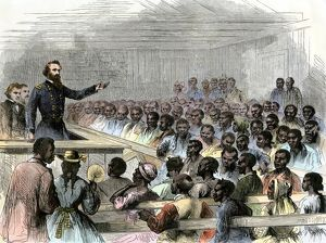 Former slaves meeting with federal officials in North Carolina, 1866