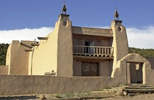 Spanish colonial adobe church in New Mexico