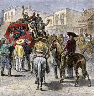 Stagecoach leaving Texas for Yuma, 1870s