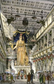 Statue of Athena in the Parthenon of ancient Athens