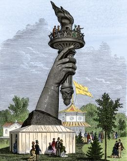 Statue of Liberty torch shown in Philadelphia, 1876