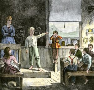 Students in a one-room school, 1800s