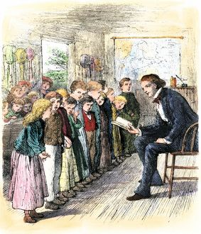 Students reciting in a one-room school, 1800s