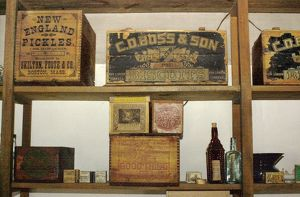Supplies in the Fort Laramie trading post, Oregon Trail