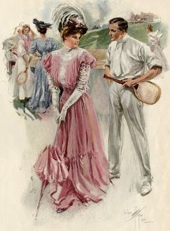 Tennis court romance, 1890s or early 1900s