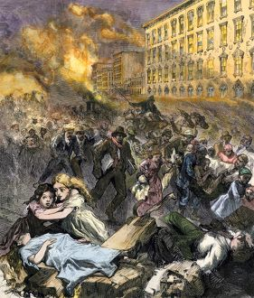 Terror of people escaping the Chicago Fire, 1871