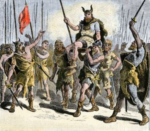 Teutons celebrating a victory in ancient times