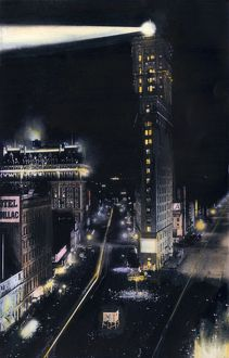 Times Square at night, about 1900
