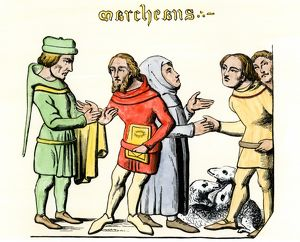 Traders bartering in the Middle Ages