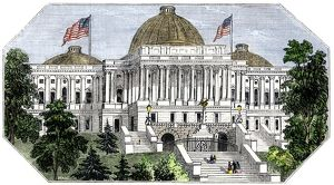 Unfinished dome on the U.S. Capitol, 1850s