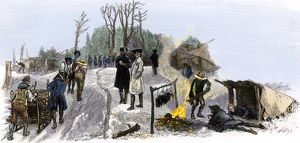 Valley Forge soldiers trying to keep warm