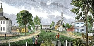 Village green in Concord, Massachusetts, 1830s