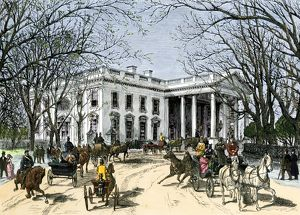Visitors arriving at the White House in carriages, 1870s