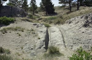 Wagon tracks on the Oregon Trail, Wyoming