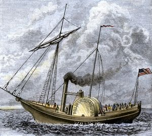 Walk-in-the-Water steamboat on Lake Erie, 1818