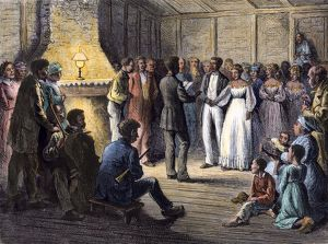 Wedding of former slaves in the South, 1870s