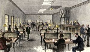 Western Union office in New York City, 1870s