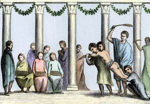 Whipping a schoolboy in ancient Rome