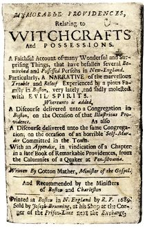 Witchcraft book by Cotton Mather, 1689