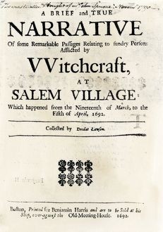 Witchcraft at Salem Village title page, 1692