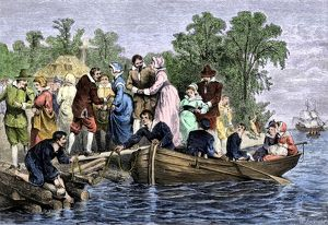 Women arriving at colonial Jamestown, 1600s