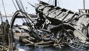 Wreckage of the battleship 'Maine' in Havana, 1898