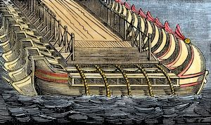 Xerxes' bridge of boats across the Hellespont, 480 BC
