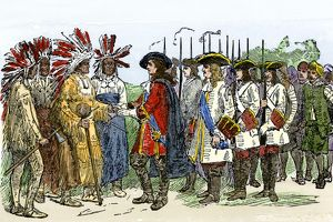 Yamacraw Indians meeting Georgia colonists, 1730s