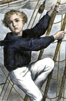 Young sailor climbing the rigging